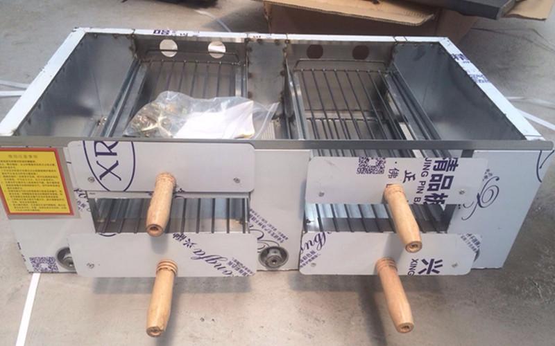 2019年全不锈钢四个抽屉燃气火烧炉(带有温度表) 大型商用火烧炉